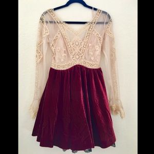 Free People V for Victorian Velvet Mini Dress