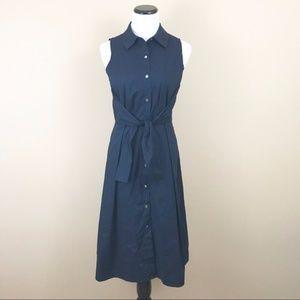 Ivanka Trump Navy Blue Sleeveless Button Up Dress