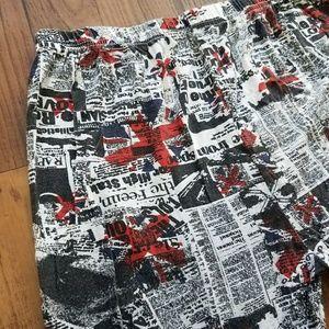 Hot Topic Pants - British Punk UK Flag Newsprint Newspaper Leggings