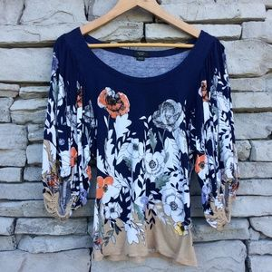 ANTHROPOLOGIE {xs} Deletta Navy Floral Blouse