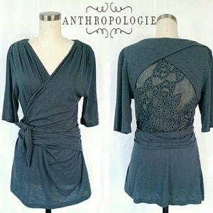 Anthropologie Eliora Embroidered Wrap Top
