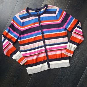 Lands End Multi Colored Striped Cardigan