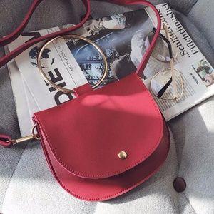 Handbags - Red Bag with Metal Handle