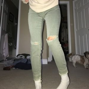 Army Green Denim Jeans