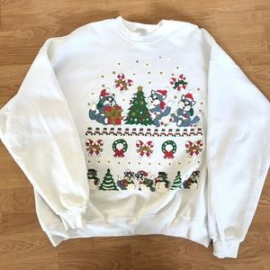 Men's 2XL ugly Christmas sweater 90s kittens
