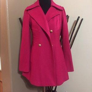 Dark Pink / Fuchsia Guess Wool Peacoat Size M