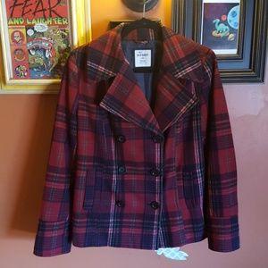 Festive Wool Plaid Pea Coat