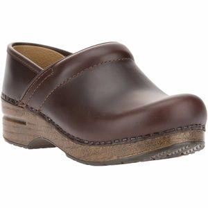 Dansko Women's Pro Brown Calf Leather Clogs