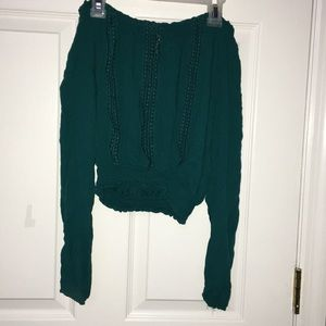 Emerald green off shoulder cropped top