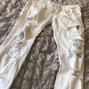 Zara Trafaluc White Ripped Jeans