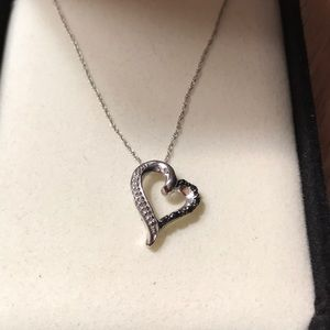 Black and white diamond heart shaped necklace