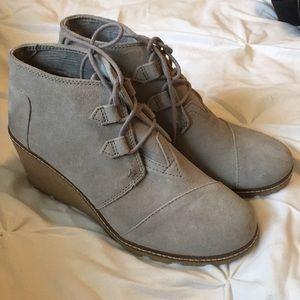 Toms Grey Suede Wedge Heels