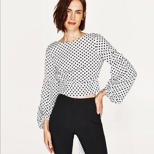 Zara white polka dot voluminous long sleeve top