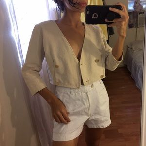 Vintage Cream Buttoned Crop Top