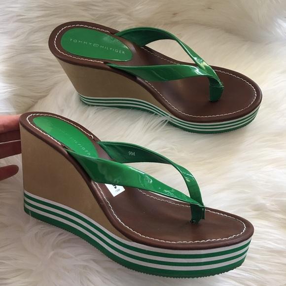 3f2b6b5f9 Tommy Hilfiger 9 wedge flip flop sandal heel. M_5a2ef83799086a1e98051f8c