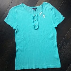 New Gap Teal Keyhole Shirt