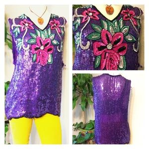 m80's Grunge DIY Purple Floral Sequined Tunic Top