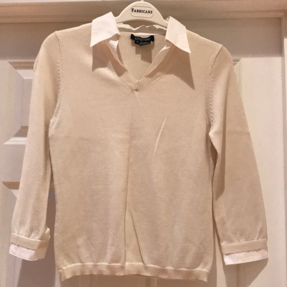 Etcetera Sweaters Sweater With False White Shirt Underneath Poshmark