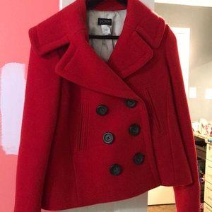 j crew red pea coat