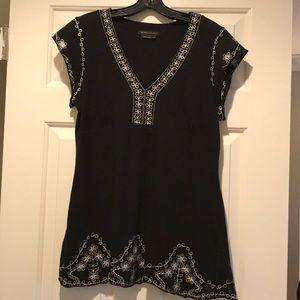 BCBG black embroidered top