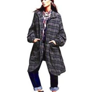 Free People Plaid Swing Coat small