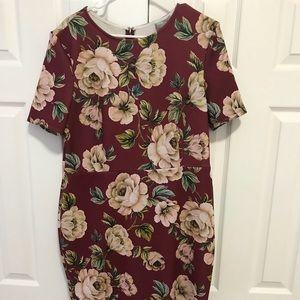 ASOS Floral Print Scuba Midi Dress