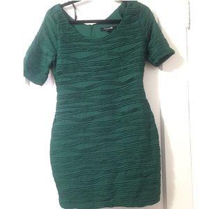 Textured Emerald Green BodyCon Dress