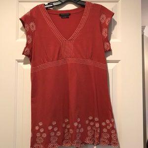BCBG reddish orange embroidered top