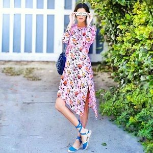 Topshop Pink Floral Ruffle Midi Dress Size 6