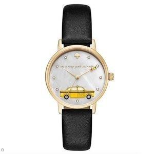 NWT Kate Spade black leather metro taxi cab watch