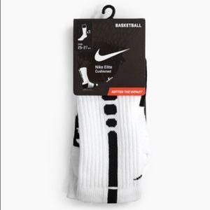 New Nike Elite cushioned basketball socks white