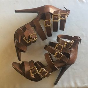 Mossimo Brown Strappy Sandal Heels Gold Buckles