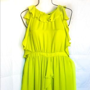 """""""Serena"""" chartreuse party dress w/ ruffle detail"""