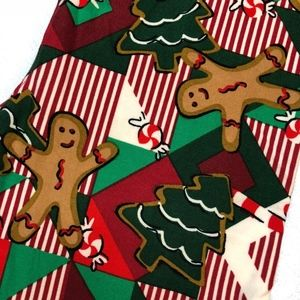 LULAROE Leggings GINGERBREAD CHRISTMAS TREES OS