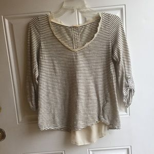 Anthropologie Striped Tee with Chiffon Button Back