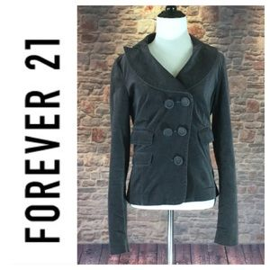 💸Forever 21 22 charcoal gray velvet crop peacoat