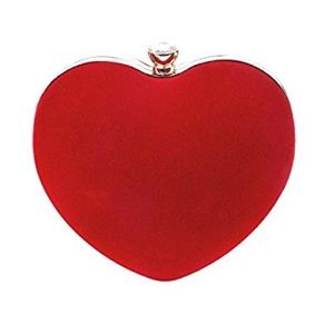 Red Heart Shaped Clutch Purse