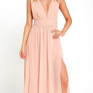 Blush pink Lulus bridesmaid dress/maxi gown