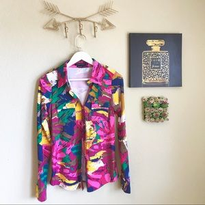 BCBGMAXAZRIA Colorful Abstract Blouse