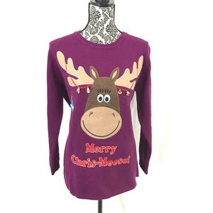 Sweaters - Holiday ugly sweater plus size Merry Chris moose