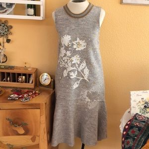 Anthropologie Knitted & Knotted gray wool dress