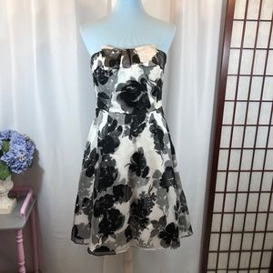 WHBM Floral Bow Accent Silk Strapless Dress, Sz 6