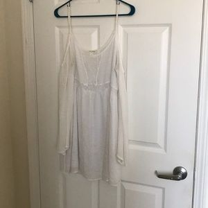 White Cold Shoulder Game Day Dress