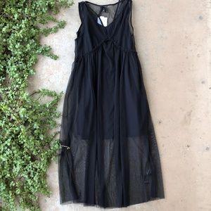 Topshop Black Mesh Sheer Two Piece Midi Dress