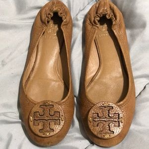 Tory Burch Reva Ballet Flats Tan Leather Sz 6.5M