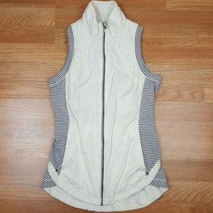 Lululemon reflective White Gray Striped Vest Sz 4