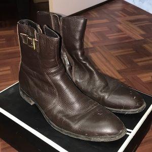 Robert Wayne brown leather zipper dress boots 10.5
