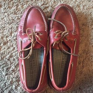 Red Sperry boat shoes