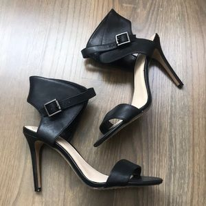 Vince Camuto black ankle wrap heels