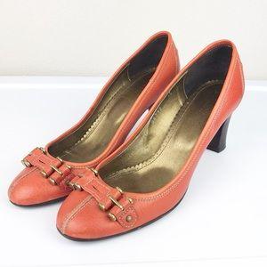 J. Crew Orange Leather Block Heel Pump Italy